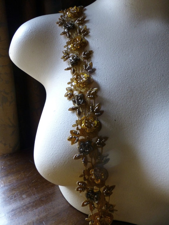 "NEW DYE Lot Beaded Trim 18"" in Mustard for Altered Couture, Bridal, Headbands, Crafts"