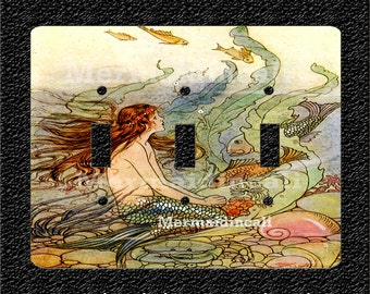 Vintage Mermaid Illustration Feeding Fish Triple Light Switch Plate Covers Toggle or Rocker Style