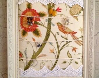 Jewelry Holder Organizer Frame Bird Floral Fabric  Ready to Ship