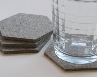 Geometric Hexagon Drink Coasters in 5mm Wool Felt Modern Eco-friendly Sustainable Office Decor