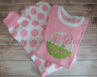 Personalized Appliqued Short Sleeve Pajamas, Pink, Lavender or Yellow Polka Dot for Girls