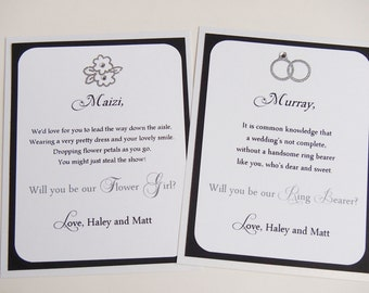Ring Bearer and Flower Girl Card- Will you be my- Wedding- Ring and Flowers- Set of 2 cards