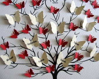 11X14 Family Tree of Butterflies. Parents. Grandparents. Anniversary. Genealogy. Ancestry. YOU CHOOSE Colours. Personalized. Made to Order