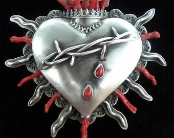 Corazón de Santa Fe Brooch Cross Wearable Art Precious Metal Sterling Silver Coral Award Winner