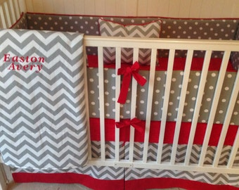 Crib Bedding Set Gray White And Red