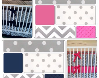 Crib Bedding Set Girl Boy Twins Hot Pink Navy Gray