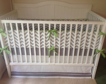 Crib Bedding Set Gray White and Jade Green