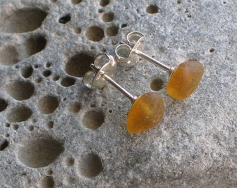 Honey Amber Sea Glass Sterling Silver Studs Post Earrings (643)