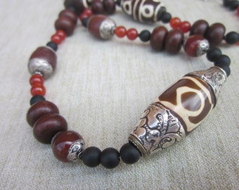 Tibetan and Aftican Bead Necklace with Carnelian and Black Onyx
