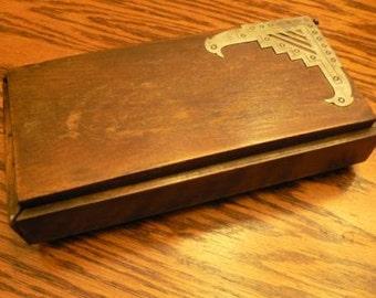 vintage office funk ... DECO Style Silver edged WOODEN BOX Desk Organizer ...