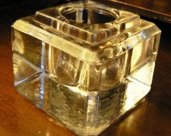vintage office ... Large clear glass INKWELL DESK ink JAR pot stand ink well vintage