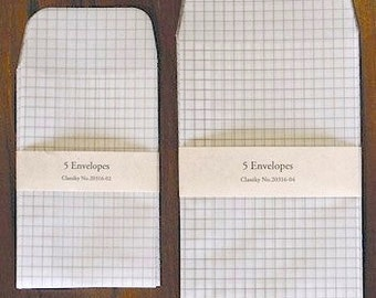 tracing paper envelopes - set of 5 (grid)