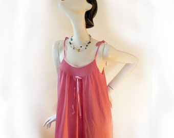 "Nightgown, Pink vintage nightie, large long nightgown, sexy, empire waist, for women of all sizes by ""Boudoir"", pink night gown, medium robe"
