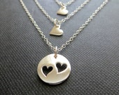 Mother daughter jewelry, mother 2 daughters necklace, ss delicate heart necklace, mother of two daughters