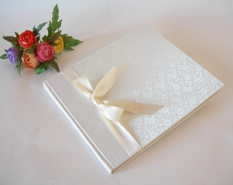 Lined guest book -  ivory brocade with satin ribbon - 8x9in 20x23cm - Ready to ship