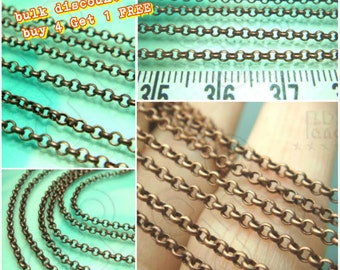 Buy 4 Get 1FREE / T218BZ / 1meter / 5meter / Ring Dia. 2mm - Antique Copper Plated Rolo Chain Findings