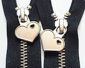 Metal Teeth 12 Inch Zippers with Special Heart Pull - YKK- 1 Piece- Black 580