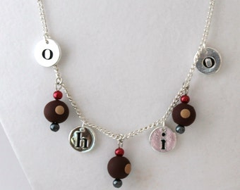 O-H-I-O Necklace with Clay Buckeye Charms