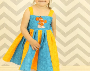 custom boutique dress made with nemo patch size 2-6