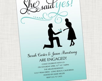 Ring Engagement Party Invitation, Blue Engagement Party Invitation, Printable, Digital File