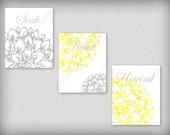 Floral Flower Gray and Yellow Wall Art Prints Decor Bathroom Unwind Soak Relax