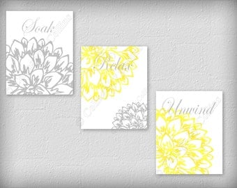 Floral Flower Gray and Yellow Wall Art Prints Decor Bathroom Unwind Soak Relax