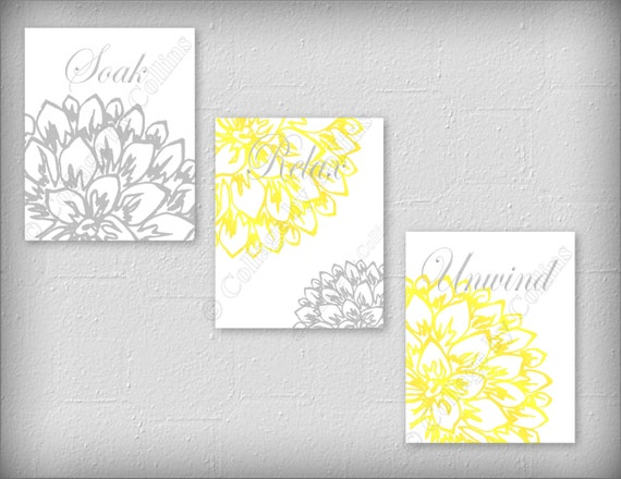 Floral Flower Gray and Yellow Wall Art Prints Decor Bathroom