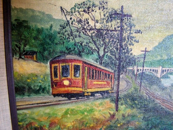 Original Painting Signed by Arizona Artist Bob Eckel Trolley Car Painting Landscape Railway