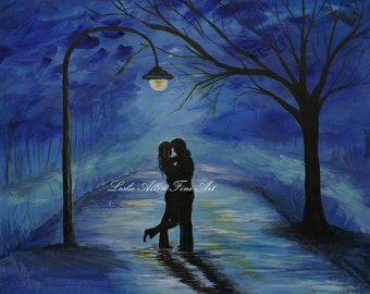 "Couple in Love Couple Kissing Couple Couples Painting Print Romance Romantic Umbrella Rainy ""One Love One Lifetime"""