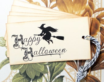 Halloween Tags Goth Flying Witch Vintage Style Gift Tags Party Favor Treat Bag Tags TH011