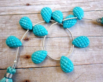 Carved Robins Egg Blue Turquoise Briolette Beads Quilted Criss Cross Double Sided ONE Matching Pair