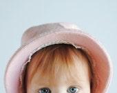 Vintage 1960's Baby Girl Bonnet - Pink Wool