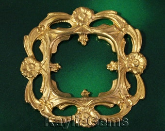 Filigree Stamping Square Frame Prong Setting Finding Art Nouveau Baroque Victorian Raw Brass -FI-R0232 - 1pcs