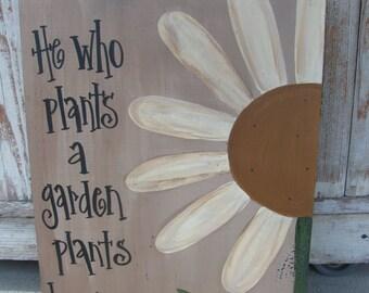 Primitive Daisy Flower Garden Hand Painted Wooden Sign GCC04445