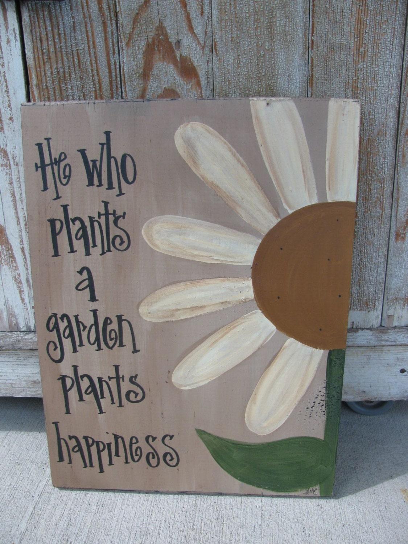 Primitive Daisy Flower Garden Hand Painted Wooden Sign