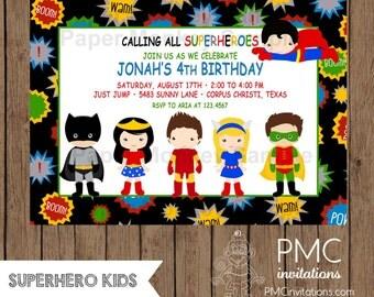 Custom Printed Superhero Birthday Invitations - 1.00 each with envelope