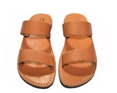 SALE 50% OFF - Caramel Bio Leather Sandals for Men & Women - EURO # 44 - Handmade Sandals, Natural Unisex Sandals, Handmade Sandals, Sale