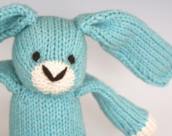 "Snow Cone Bunny - Hand Knit Organic Cotton Eco Friendly Stuffed Animal - Classic Toy Rabbit, 10"" tall"