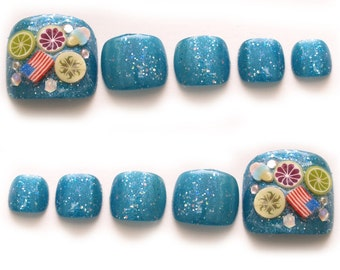 Toe nails, blue, beach, boho, tropical, summer nail art, Japanese 3D nail, gel nails, fruit, candy nail, Japanese fashion, sandals, toes
