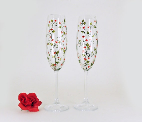 Valentine champagne flutes - Set of 2 - Hand painted crystal glasses - Little red hearts