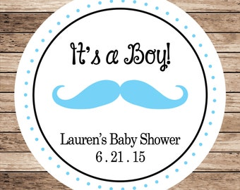 It's a Boy Mustache . Personalized Baby Shower Stickers, Labels or Tags