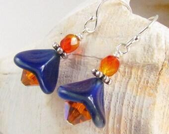 Orange and Blue Earrings, Flower Earrings, Handmade Jewelry, University of Florida Colors, handmade by Harleypaws, SRAJD