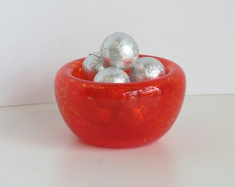 "Bright Red 3"" Blown Glass Candy Dish, Pinch Bowl, Salt Cellar, Jewelry Holder, Mini Dish, By Avalon Glassworks"