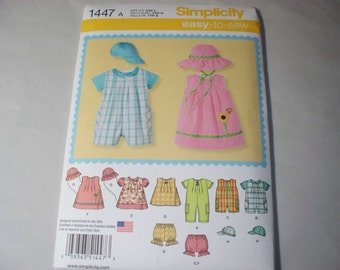 New Simplicity Baby Clothes Pattern, 1447 (Free US Shipping)
