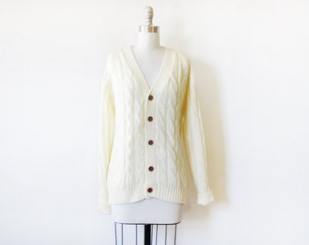 cable knit sweater, vintage 70s white knit cardigan, xl cardgian