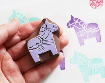 dala horse stamp. hand carved horse rubber stamp. swedish folktale birthday scrapbooking. gift wrapping. created by talktothesun. no4