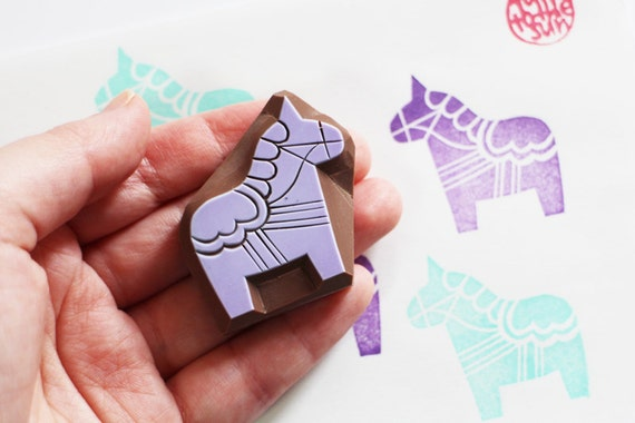 dala horse stamp. hand carved horse rubber stamp. swedish folktale.  birthday scrapbooking. gift wrapping. created by talktothesun. no4