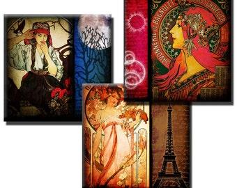 Alphonse Mucha Mixed Media – 3 x 3 inch squares - (4) Digital sheets