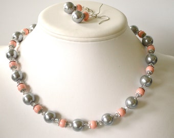 50 % off Chunky Silver Glass and Coral Pink Swarovski Pearl Beaded Necklace Set     Great for Bridesmaid Gifts