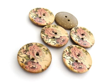 6 Coconut Shell Buttons 25mm - Pink Romantic Vintage Pattern (BC704)